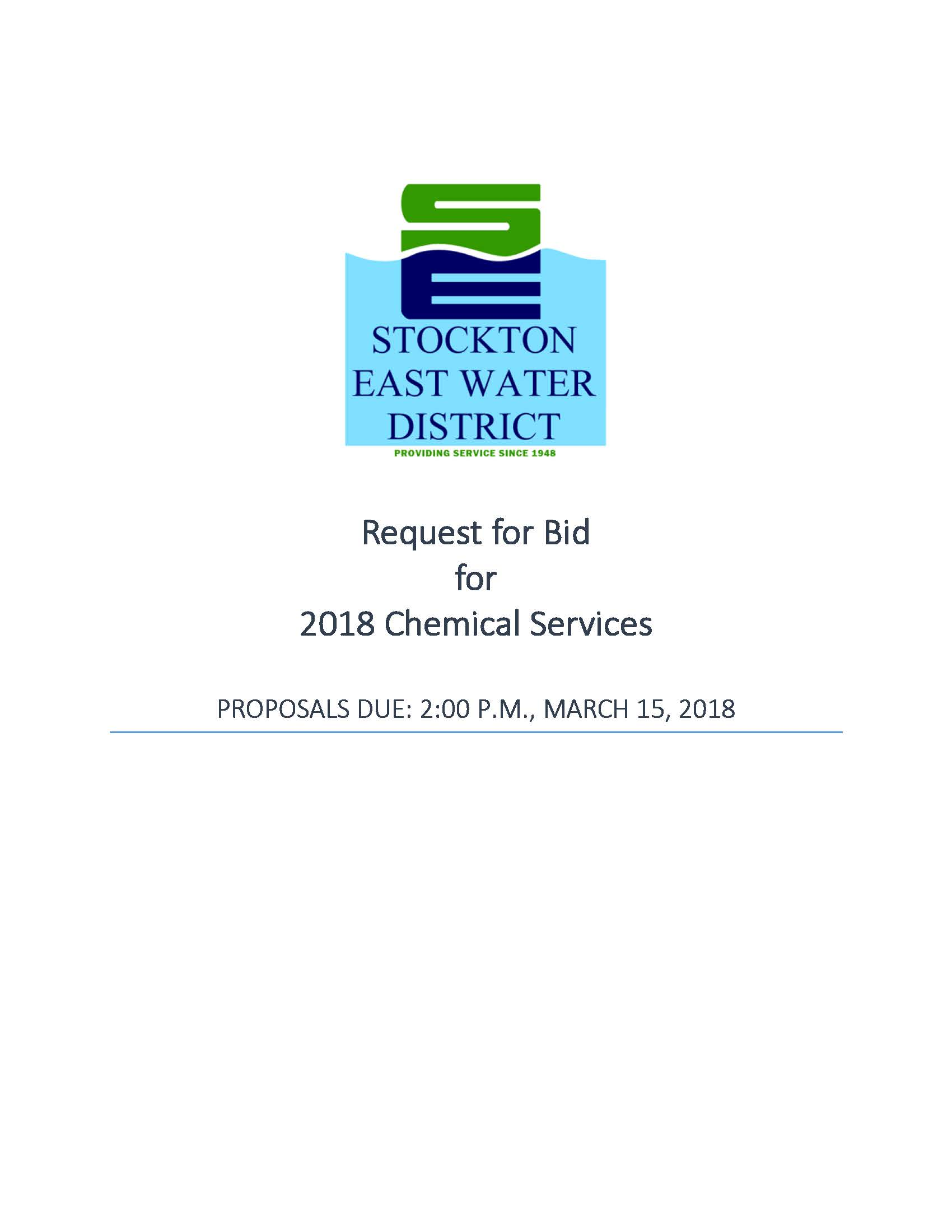 2018 Chemical Request for Bids