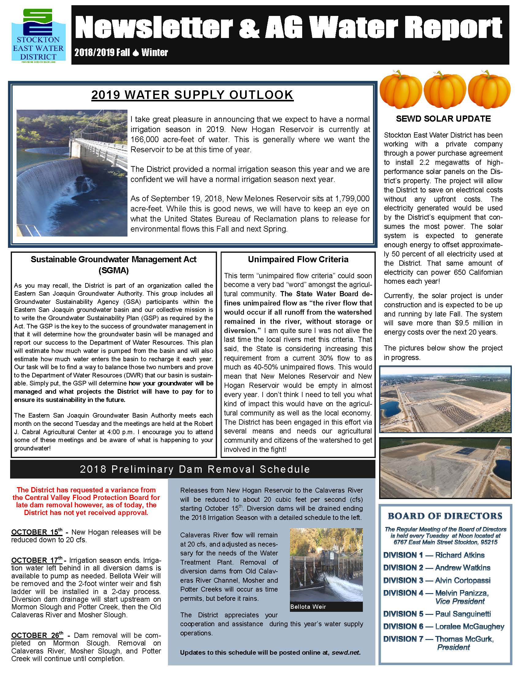 2018-19 SEWD Fall/Winter Newsletter and AG Water Report