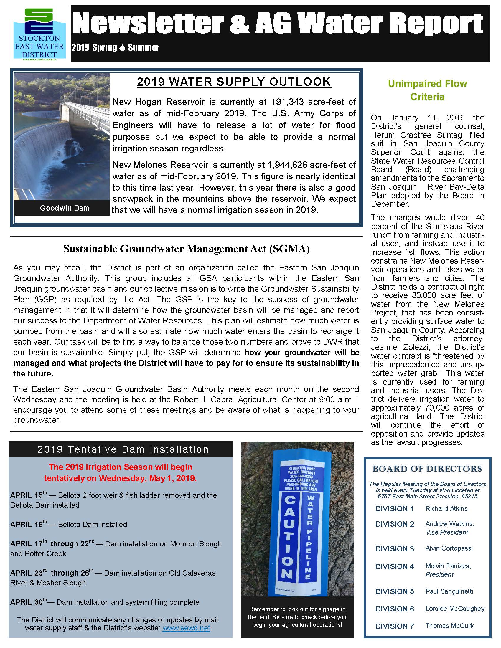 2019 SEWD Spring/Summer Newsletter and AG Water Report