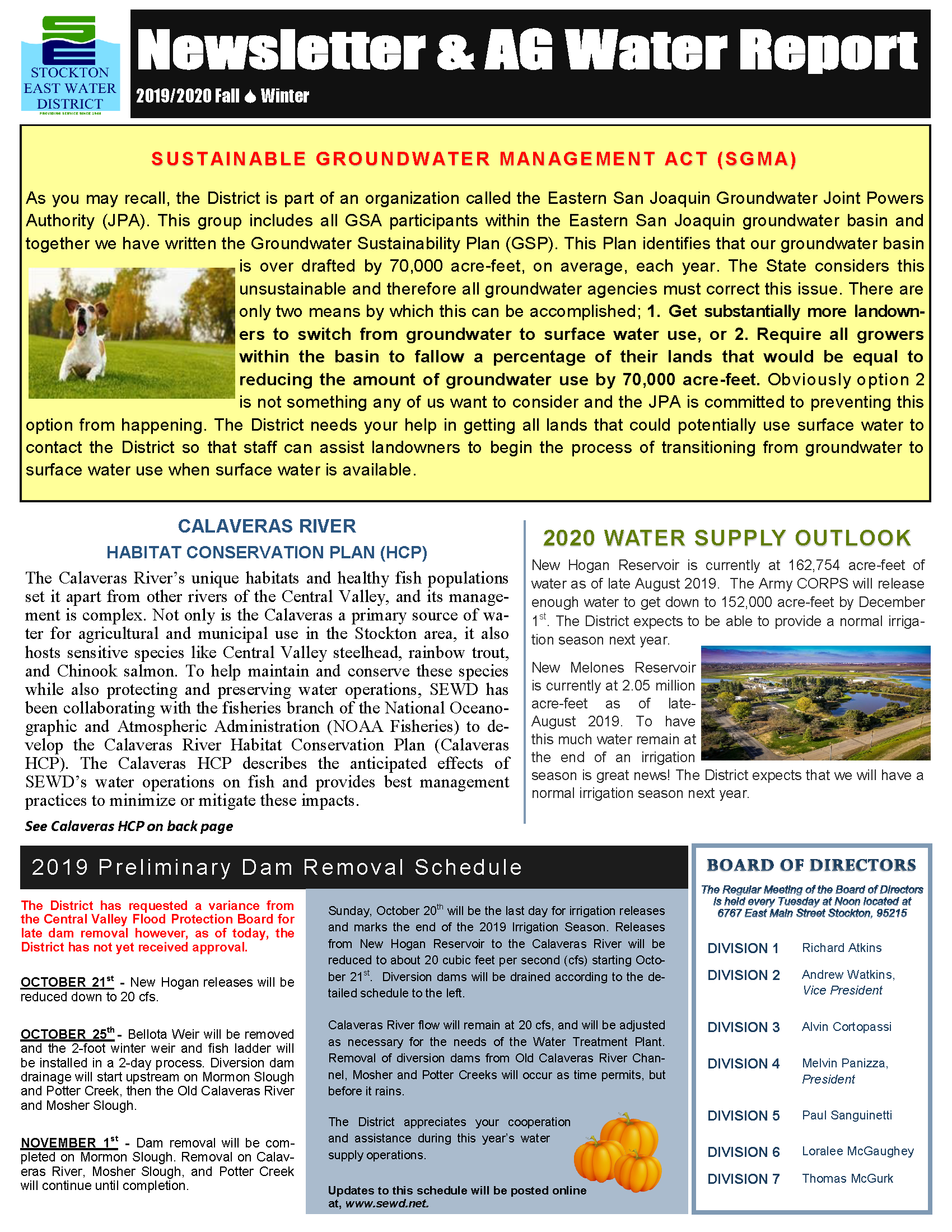 2019 SEWD Fall/Winter Newsletter and AG Water Report