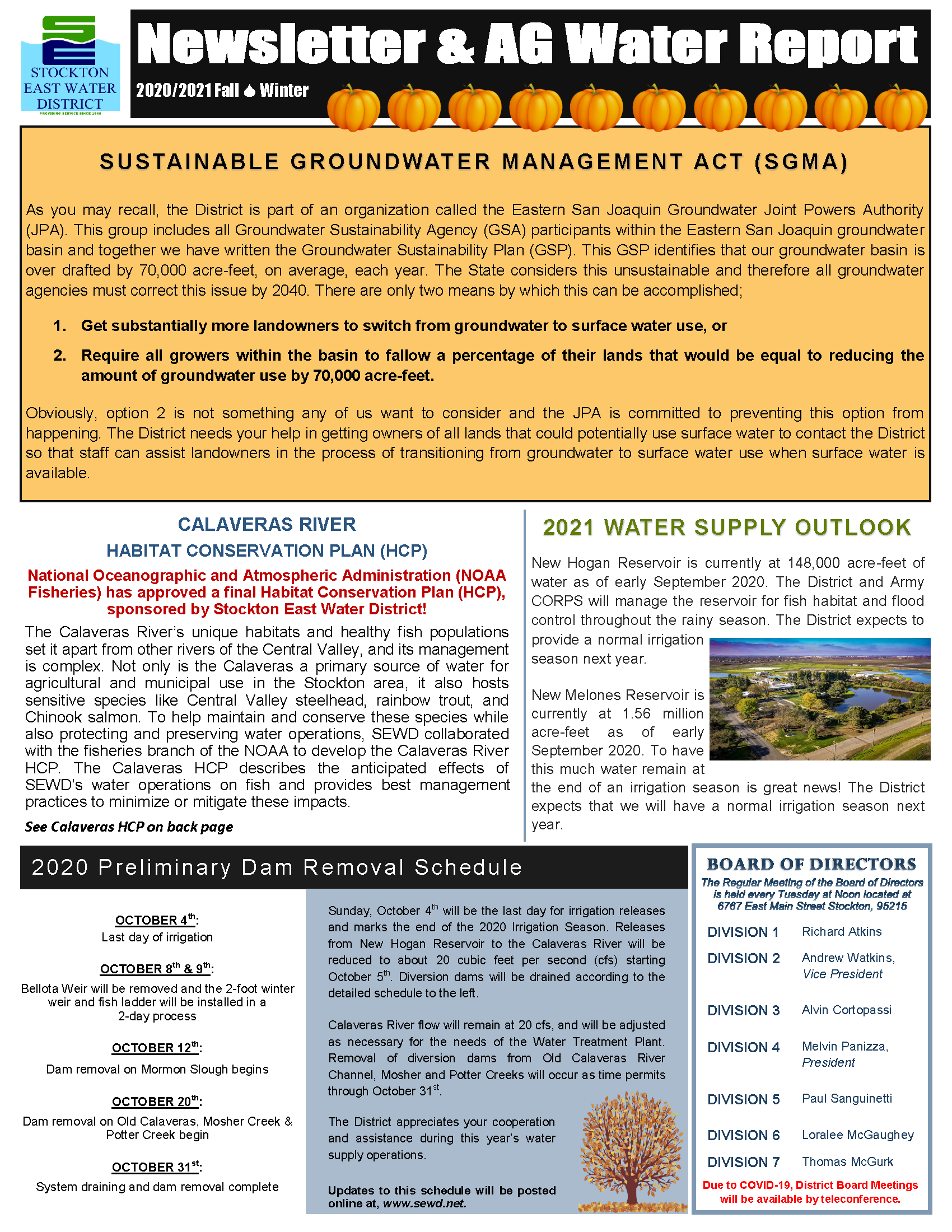 2020 SEWD Fall/Winter  Newsletter and AG Water Report