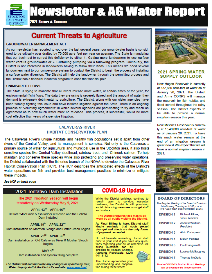 2021 SEWD Spring/Summer  Newsletter and AG Water Report
