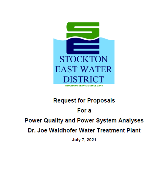 Request for Proposals For A Power Quality And Power System Analuses Dr. Joe Waidhofer Water Treatment Plant