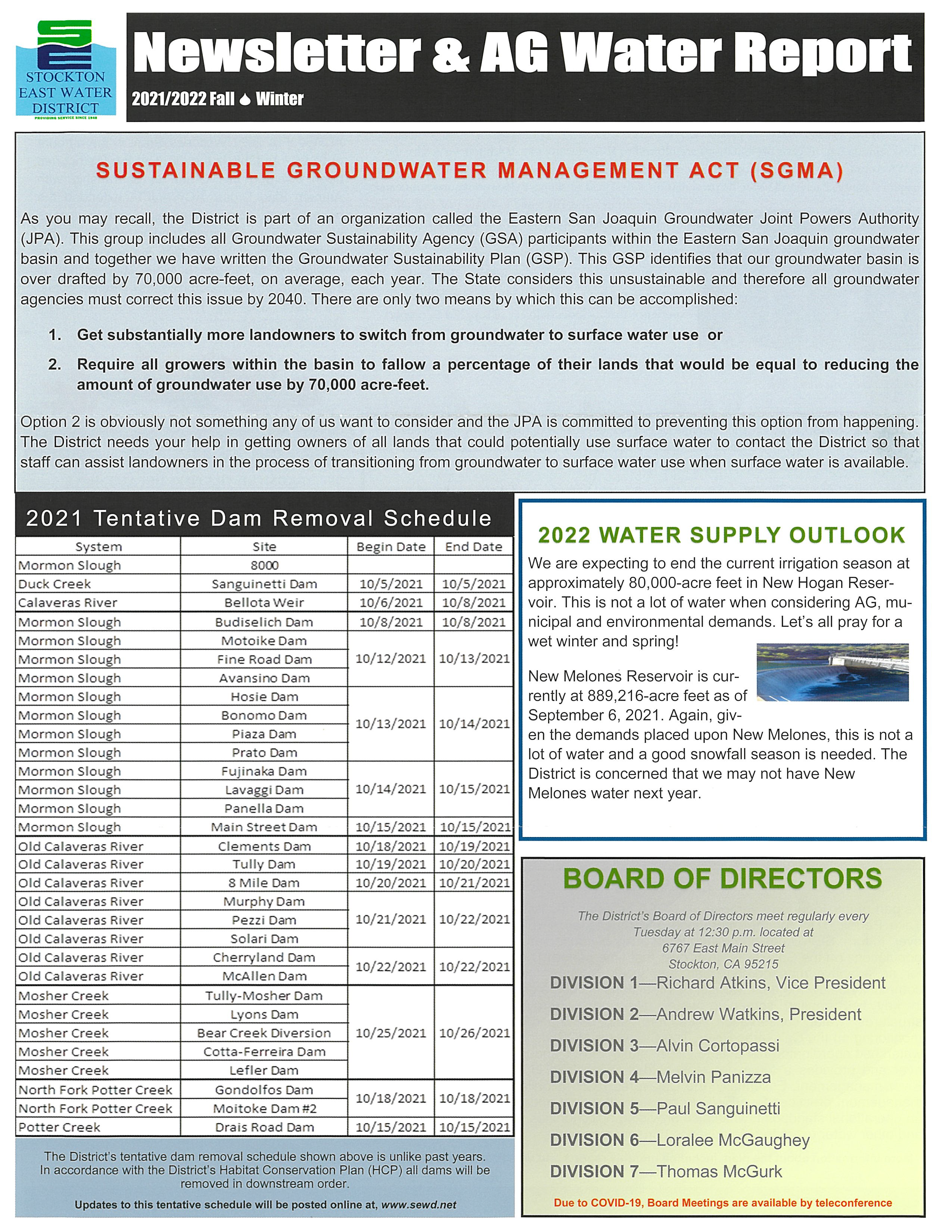 2021-2022 SEWD Fall/Winter Newsletter